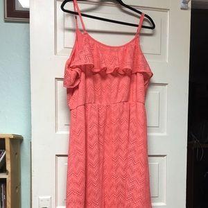 Coral Open Knit Ruffle Maxi Dress